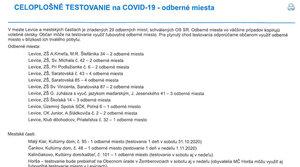 Oznam o celoplošnom testovaní na Covid-19 - odberné miesta